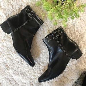 ETIENNE Aigner:Black Leather SALAZAR Ankle Booties